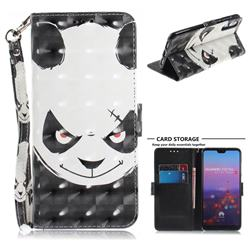 Angry Bear 3D Painted Leather Wallet Phone Case for Huawei P20 Pro