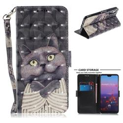 Cat Embrace 3D Painted Leather Wallet Phone Case for Huawei P20 Pro
