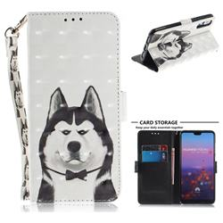 Husky Dog 3D Painted Leather Wallet Phone Case for Huawei P20 Pro