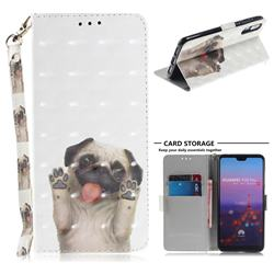 Pug Dog 3D Painted Leather Wallet Phone Case for Huawei P20 Pro