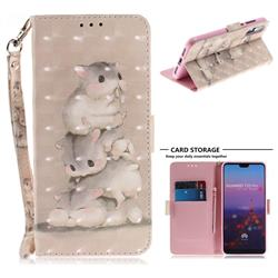Three Squirrels 3D Painted Leather Wallet Phone Case for Huawei P20 Pro