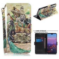 Beast Zoo 3D Painted Leather Wallet Phone Case for Huawei P20 Pro