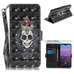Skull Cat 3D Painted Leather Wallet Phone Case for Huawei P20 Pro