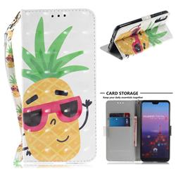 Pineapple Glasses 3D Painted Leather Wallet Phone Case for Huawei P20 Pro