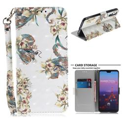 Dragon Flower 3D Painted Leather Wallet Phone Case for Huawei P20 Pro