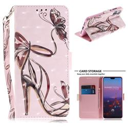 Butterfly High Heels 3D Painted Leather Wallet Phone Case for Huawei P20 Pro