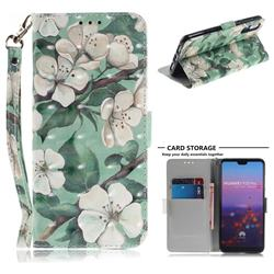 Watercolor Flower 3D Painted Leather Wallet Phone Case for Huawei P20 Pro