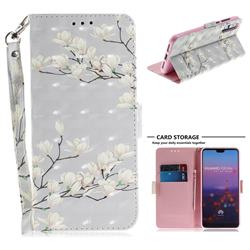 Magnolia Flower 3D Painted Leather Wallet Phone Case for Huawei P20 Pro