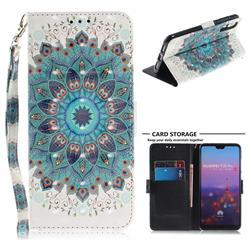 Peacock Mandala 3D Painted Leather Wallet Phone Case for Huawei P20 Pro