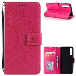 Intricate Embossing Datura Leather Wallet Case for Huawei P20 Pro - Rose Red