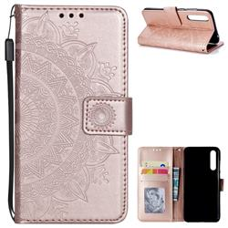 Intricate Embossing Datura Leather Wallet Case for Huawei P20 Pro - Rose Gold