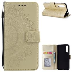 Intricate Embossing Datura Leather Wallet Case for Huawei P20 Pro - Golden