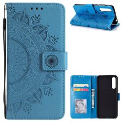 Intricate Embossing Datura Leather Wallet Case for Huawei P20 Pro - Blue
