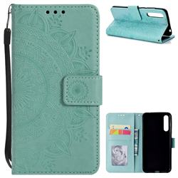 Intricate Embossing Datura Leather Wallet Case for Huawei P20 Pro - Mint Green