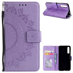 Intricate Embossing Datura Leather Wallet Case for Huawei P20 Pro - Purple