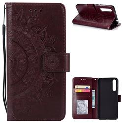 Intricate Embossing Datura Leather Wallet Case for Huawei P20 Pro - Brown