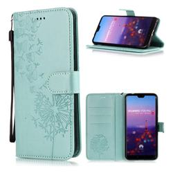 Intricate Embossing Dandelion Butterfly Leather Wallet Case for Huawei P20 Pro - Green