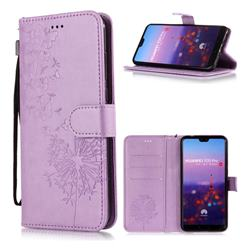 Intricate Embossing Dandelion Butterfly Leather Wallet Case for Huawei P20 Pro - Purple