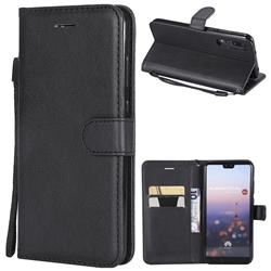 Retro Greek Classic Smooth PU Leather Wallet Phone Case for Huawei P20 Pro - Black