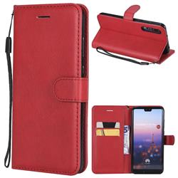 Retro Greek Classic Smooth PU Leather Wallet Phone Case for Huawei P20 Pro - Red