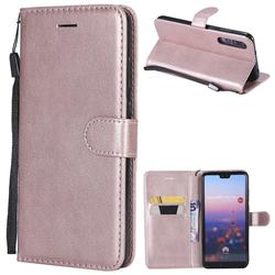 Retro Greek Classic Smooth PU Leather Wallet Phone Case for Huawei P20 Pro - Rose Gold