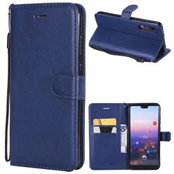 Retro Greek Classic Smooth PU Leather Wallet Phone Case for Huawei P20 Pro - Blue