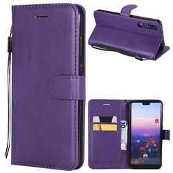Retro Greek Classic Smooth PU Leather Wallet Phone Case for Huawei P20 Pro - Purple