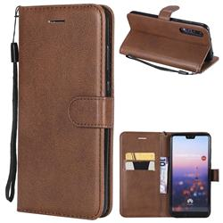 Retro Greek Classic Smooth PU Leather Wallet Phone Case for Huawei P20 Pro - Brown