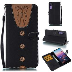 Ladies Bow Clothes Pattern Leather Wallet Phone Case for Huawei P20 Pro - Black
