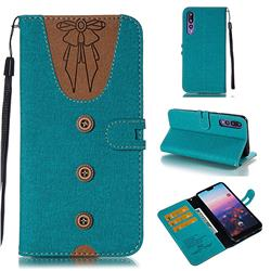 Ladies Bow Clothes Pattern Leather Wallet Phone Case for Huawei P20 Pro - Green