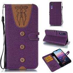 Ladies Bow Clothes Pattern Leather Wallet Phone Case for Huawei P20 Pro - Purple