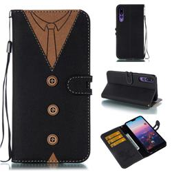 Mens Button Clothing Style Leather Wallet Phone Case for Huawei P20 Pro - Black