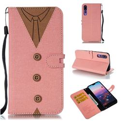 Mens Button Clothing Style Leather Wallet Phone Case for Huawei P20 Pro - Pink