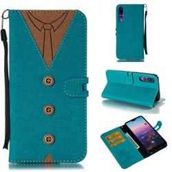Mens Button Clothing Style Leather Wallet Phone Case for Huawei P20 Pro - Green