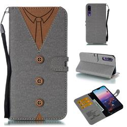 Mens Button Clothing Style Leather Wallet Phone Case for Huawei P20 Pro - Gray