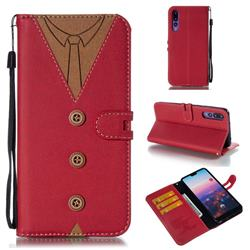 Mens Button Clothing Style Leather Wallet Phone Case for Huawei P20 Pro - Red
