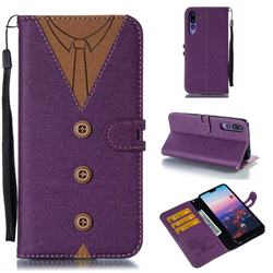 Mens Button Clothing Style Leather Wallet Phone Case for Huawei P20 Pro - Purple