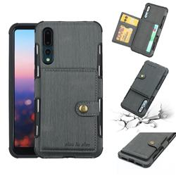 Brush Multi-function Leather Phone Case for Huawei P20 Pro - Gray