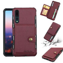 Brush Multi-function Leather Phone Case for Huawei P20 Pro - Wine Red