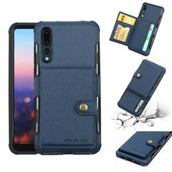 Brush Multi-function Leather Phone Case for Huawei P20 Pro - Blue