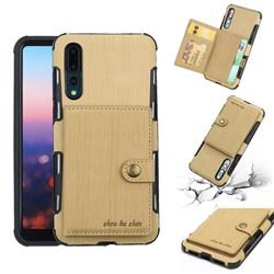 Brush Multi-function Leather Phone Case for Huawei P20 Pro - Golden