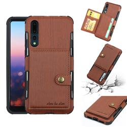 Brush Multi-function Leather Phone Case for Huawei P20 Pro - Brown
