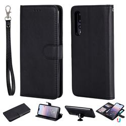 Retro Greek Detachable Magnetic PU Leather Wallet Phone Case for Huawei P20 Pro - Black