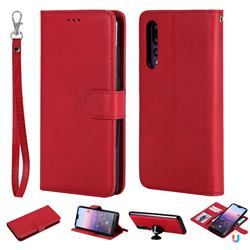 Retro Greek Detachable Magnetic PU Leather Wallet Phone Case for Huawei P20 Pro - Red