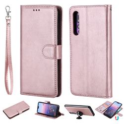 Retro Greek Detachable Magnetic PU Leather Wallet Phone Case for Huawei P20 Pro - Rose Gold