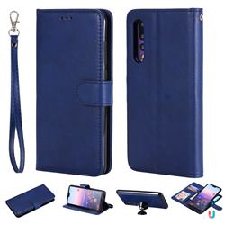 Retro Greek Detachable Magnetic PU Leather Wallet Phone Case for Huawei P20 Pro - Blue