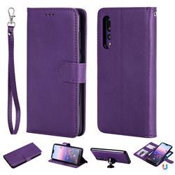 Retro Greek Detachable Magnetic PU Leather Wallet Phone Case for Huawei P20 Pro - Purple
