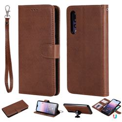 Retro Greek Detachable Magnetic PU Leather Wallet Phone Case for Huawei P20 Pro - Brown