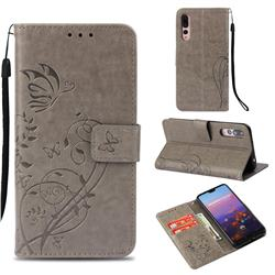 Embossing Butterfly Flower Leather Wallet Case for Huawei P20 Pro - Grey