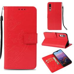 Embossing Butterfly Flower Leather Wallet Case for Huawei P20 Pro - Red